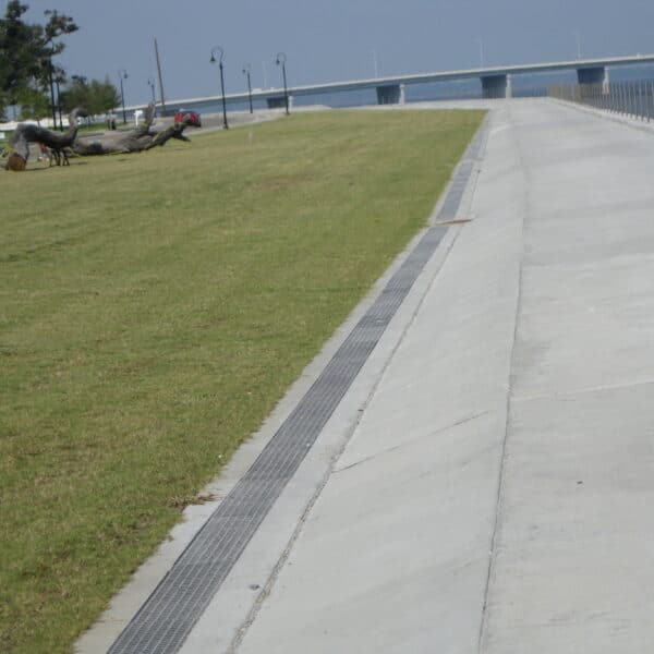 trench drain system near the ocean