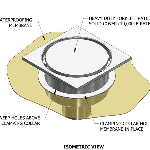 isometric view of stainless steel floor drain