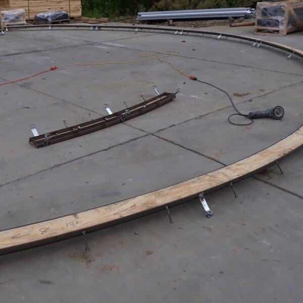 radius trench drain installation photo