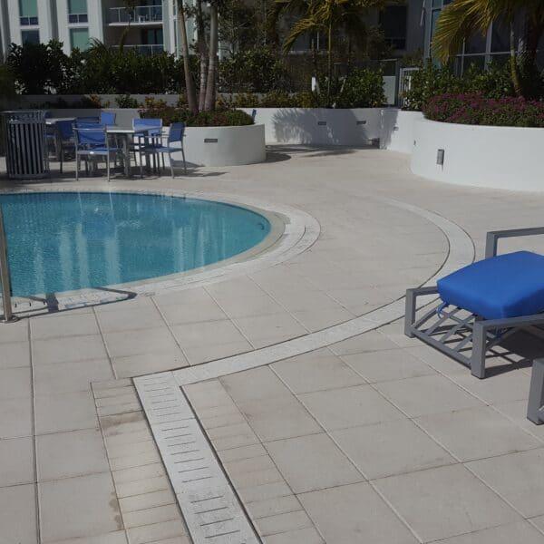 slotted radius drain at a pool
