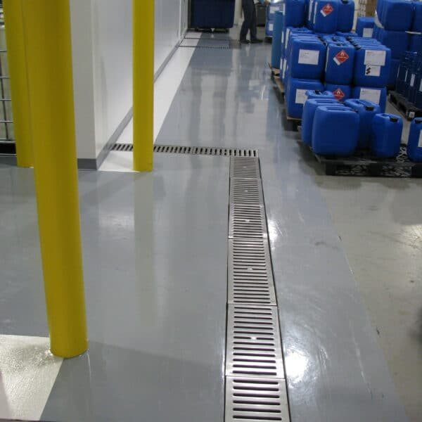 chemical plant trench drain system