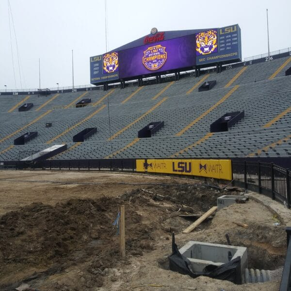 LSU Tiger stadium installing new trench drain system