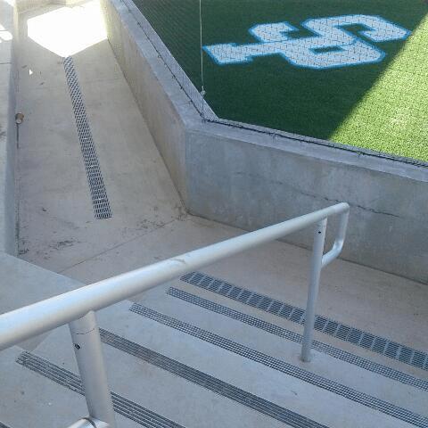 Bleacher trench drains at softball stadium