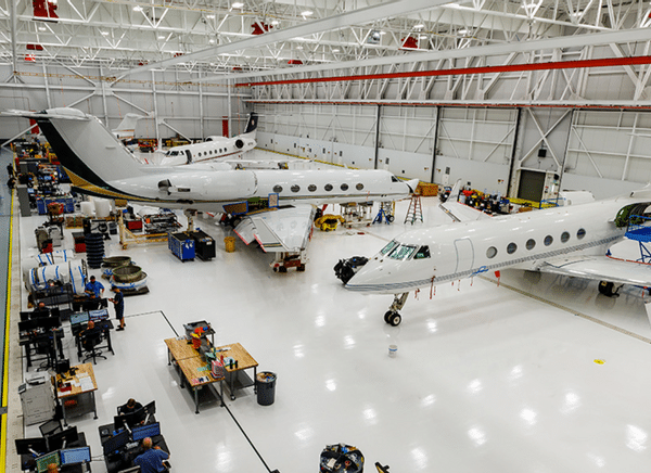 gulfstream hangar featuring a duratrench utility trench system