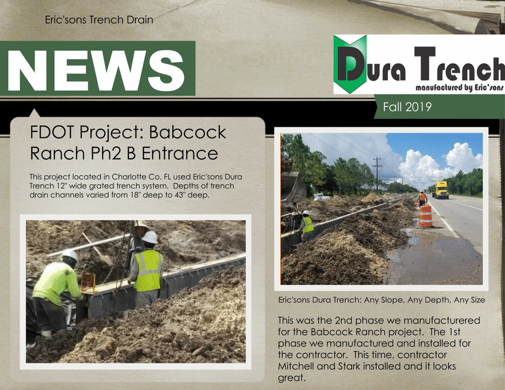 Florida DOT trench drain installation