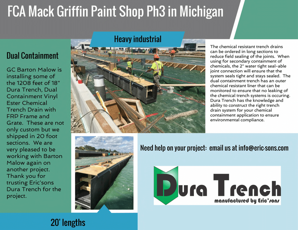 Paint shop dual containment trench drain