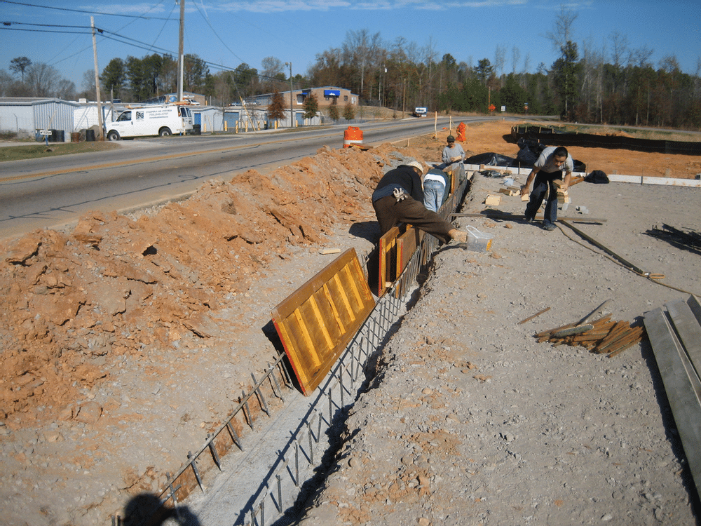 cast in place trench drain with poured footer