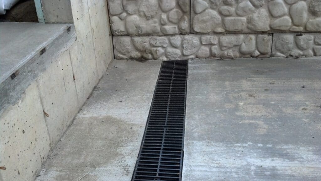 Debris in trench drains