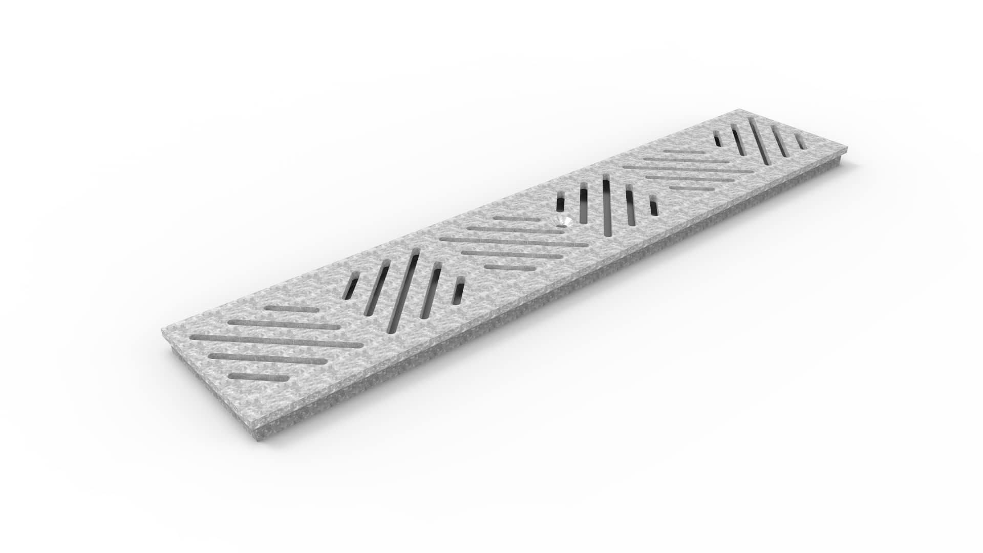 05F24GS - 5 inch wide trench drain grate diagonal slotted galvanized steel