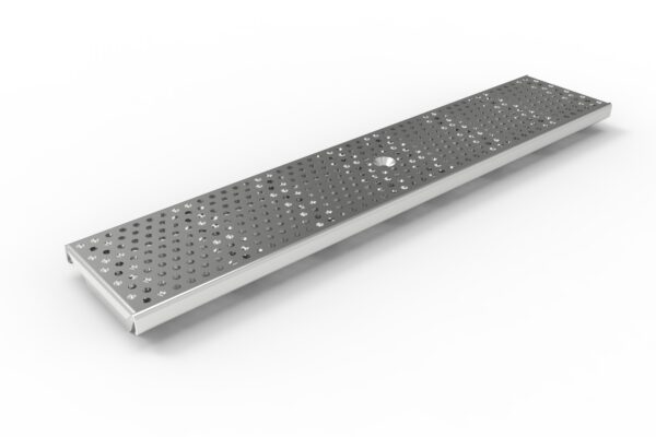 Stamped perforated metal trech drain grate
