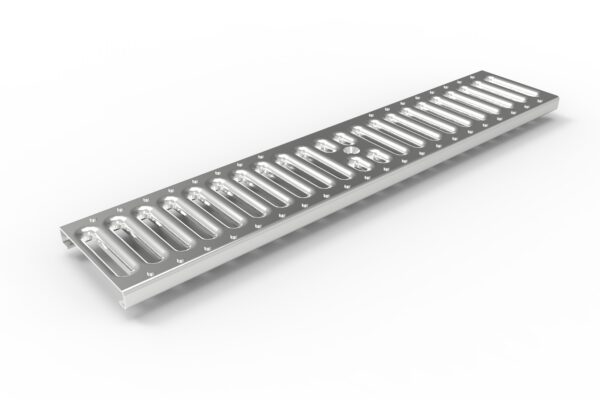 Stamped slotted metal trench drain grate