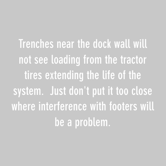 trenches near the dock wall will not see loading form the tractor tires extending the life of the system. just dont put it too close where interferences with footers will be a problem