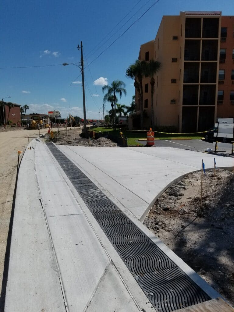 Harbor Blvd beautification with trench drain system