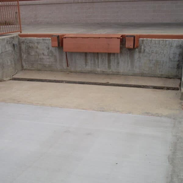 heavy duty trench drain grate at a loading dock