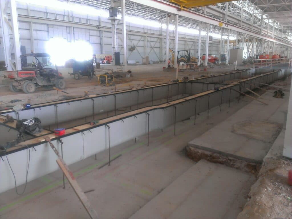 Cooling water process trench drain system