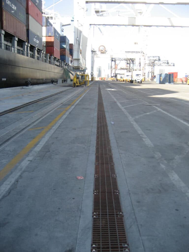 Container area trench drains