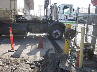 Trench drain at truck entrance