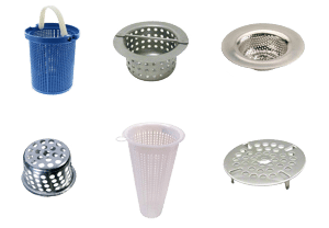 Trench drain system outlet strainers