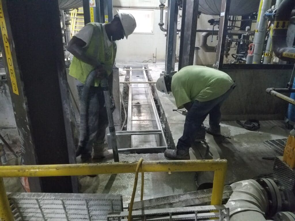 Stainless steel trench drain installation