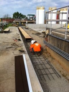 Water treatment utility trench