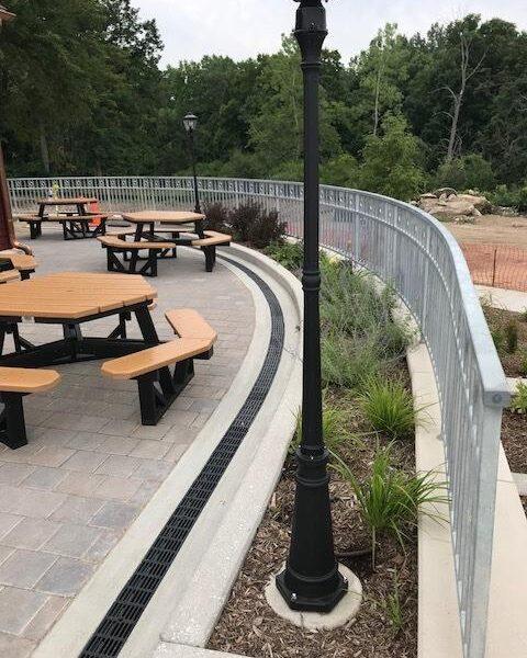 Radius Trench Drain system in brick paver patio
