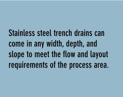 stainless steel trench drains can come in any width, depth, and slop to meet the flow and layout requirements of your process area.