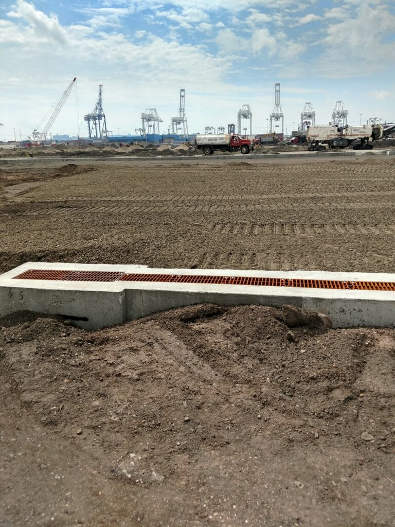 Greenville Intermodal Container Yard trench drain